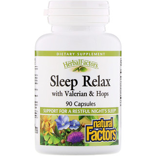 Natural Factors, Sleep Relax with Valerian & Hops, 90 Capsules