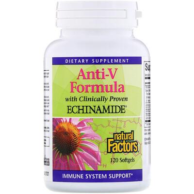 Купить Natural Factors Anti-V формула с клинически протестированным эхинамидом, 120мягких таблеток
