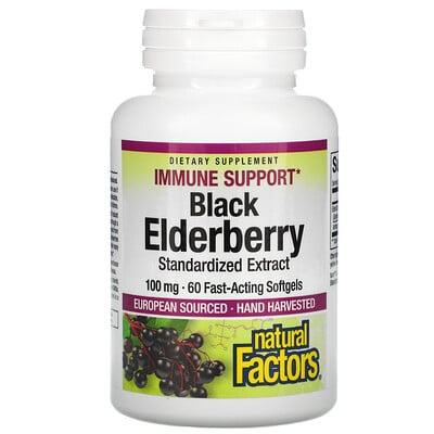 Natural Factors Black Elderberry, 100 mg, 60 Fast-Acting Softgels