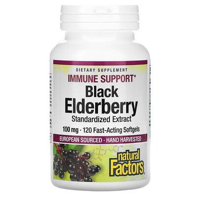 Купить Natural Factors Black Elderberry, 100 mg, 120 Capsules