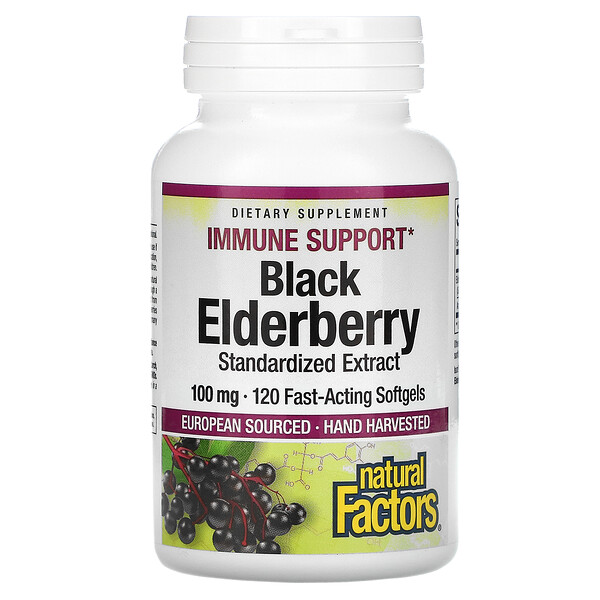 Natural Factors, Black Elderberry, 100 mg, 120 Capsules