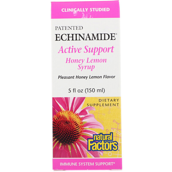 Natural Factors, Echinamide Active Support, Honey Lemon Syrup, 5 fl oz (150 ml) (Discontinued Item)