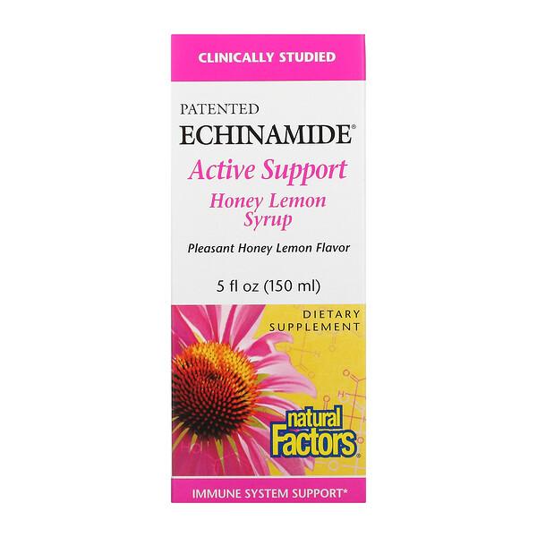 Natural Factors, Patented Echinamide Active Support, Honey Lemon Syrup, 5 fl oz (150 ml)