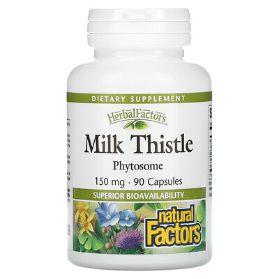 Natural Factors Herbal Factors, Молочный чертополох, 150 мг, 90 капсул  - купить со скидкой