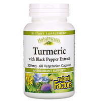 Natural Factors, Herbal Factors, Turmeric with Black Pepper Extract, 300 mg, 60 Vegetarian Capsules