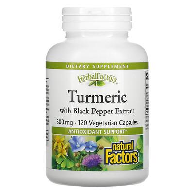 Natural Factors Turmeric with Black Pepper Extract, 300 mg, 120 Vegetarian Capsules