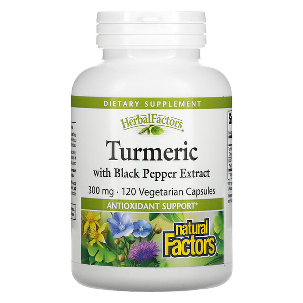 Natural Factors, Turmeric with Black Pepper Extract, 300 mg, 120 Vegetarian Capsules