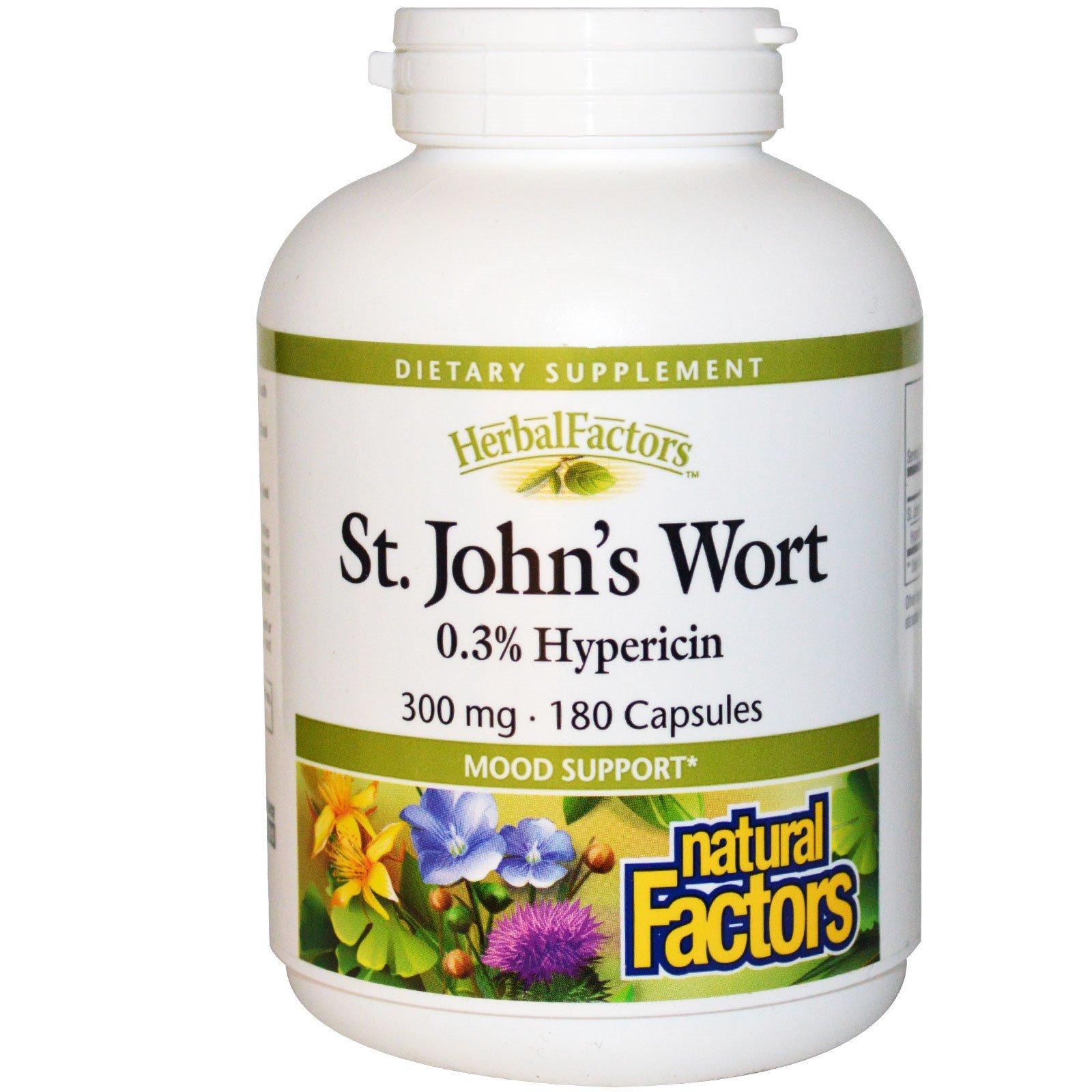 Natural Factors, Зверобой пронзённолистный, 300 мг, 180 капсул