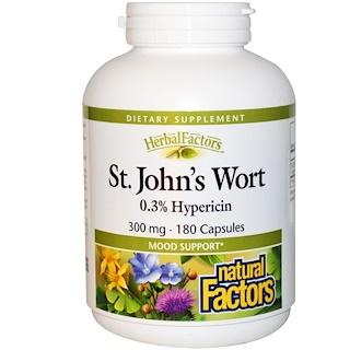 Natural Factors, St. John's Wort, 300 mg, 180 Capsules
