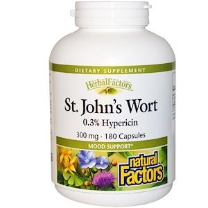 Натурал Факторс, St. John's Wort, 300 mg, 180 Capsules отзывы