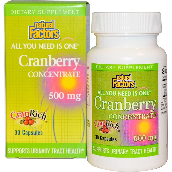 Natural Factors, Cranberry Concentrate, 500 mg, 30 Capsules (Discontinued Item)