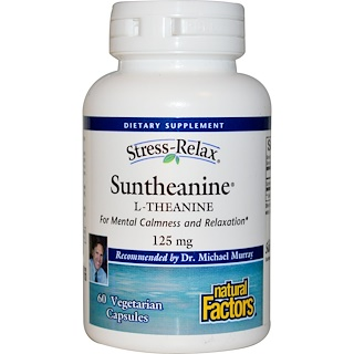 Natural Factors, Stress-Relax, Suntheanine, L-Theanine, 125 mg, 60 Vegetarian Capsules