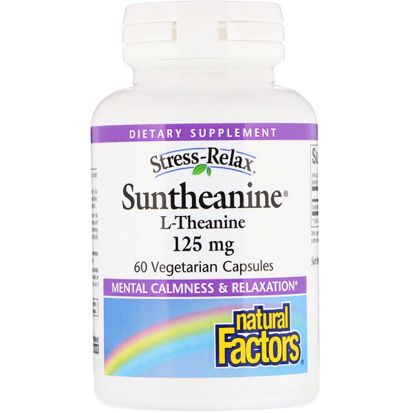 Natural Factors, Estrés-Relax, Suntheanine, L-teanina, 125 mg, 60 cápsulas vegetarianas
