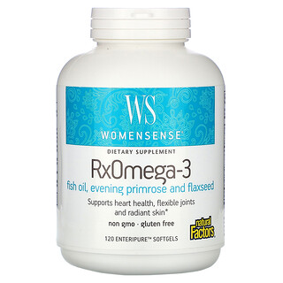 Natural Factors, WomenSense، RxOmega-3، عدد 120 كبسولة Enteripure هلامية