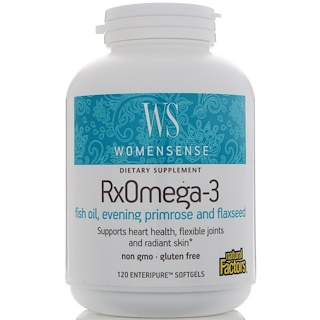 Natural Factors, WomenSense、Rxオメガ-3、Enteripureソフトジェル 120粒