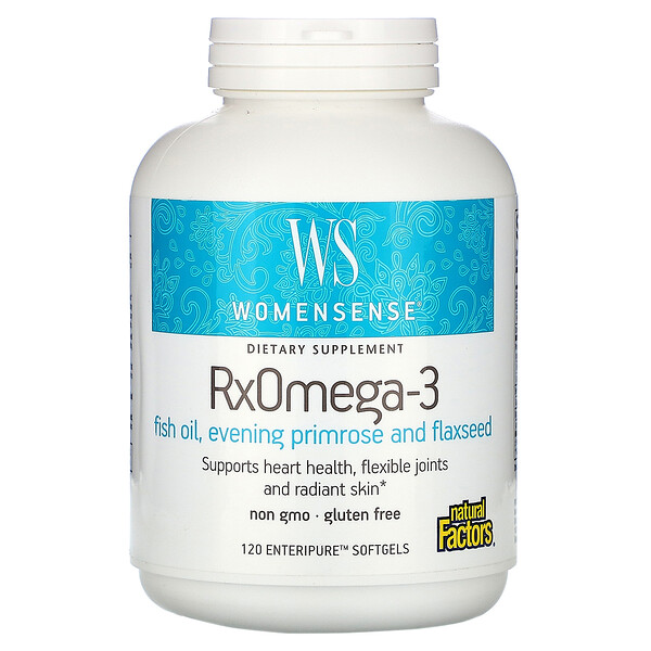 Natural Factors, WomenSense‏, RxOmega-3‏, 120 כמוסות רכות של Enteripure