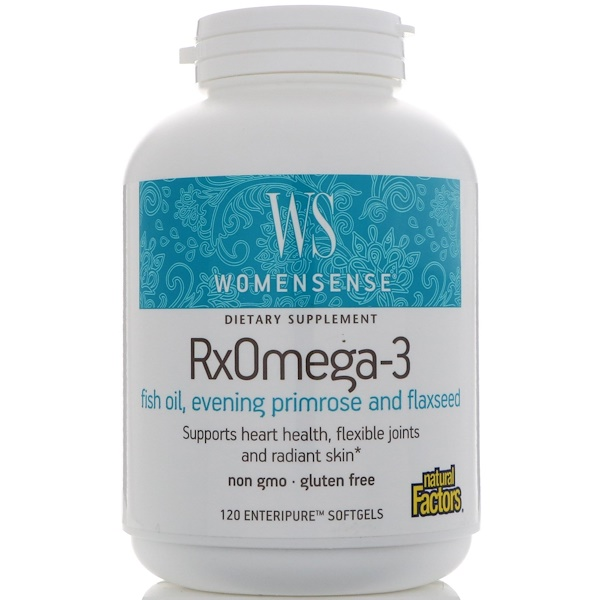 Natural Factors, WomenSense, RxOmega-3, 120 كبسولة كبسولة Enteripure هلامية