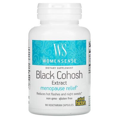 Купить Natural Factors WomenSense, Black Cohosh Extract, Menopause Relief, 90 Vegetarian Capsules
