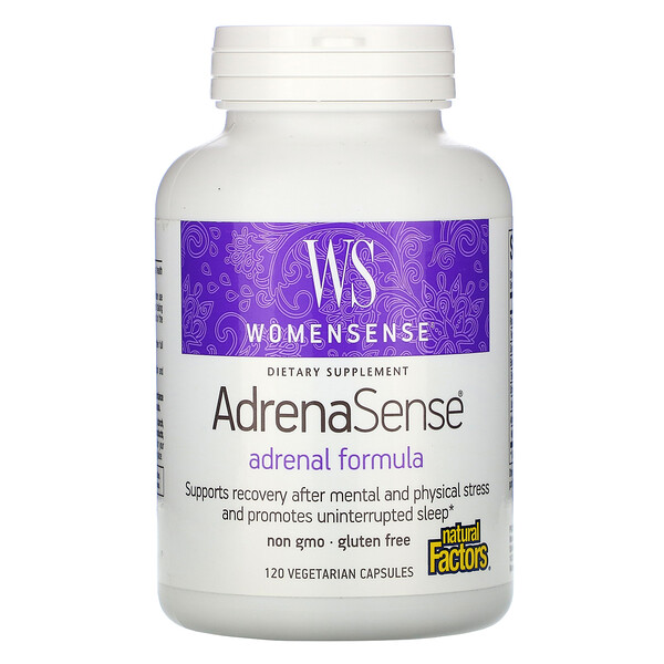 Natural Factors, WomenSense, AdrenaSense, fórmula adrenal, 120 cápsulas vegetarianas