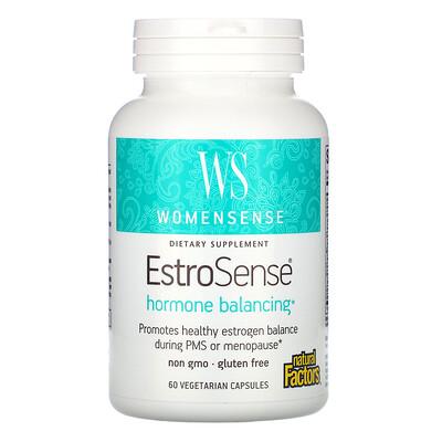 Купить Natural Factors WomenSense, EstroSense, гормональный баланс, 60вегетарианских капсул