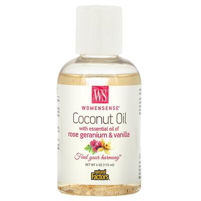Купить Natural Factors WomenSense, кокосовое масло с эфирным маслом розовой герани и ванили, 4 унции (115 мл)