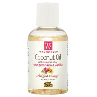 Natural Factors, WomenSense, Coconut Oil with Essential Oil of Rose Geranium & Vanilla, 4 oz (115 ml)
