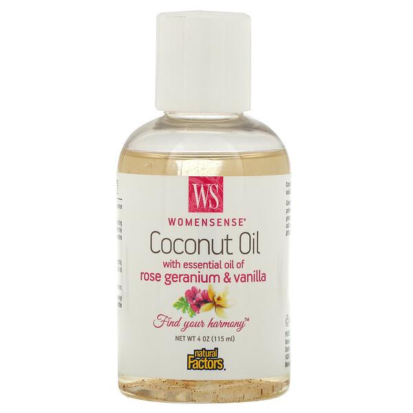 WomenSense, Coconut Oil with Essential Oil of Rose Geranium & Vanilla, 4 oz (115 ml)