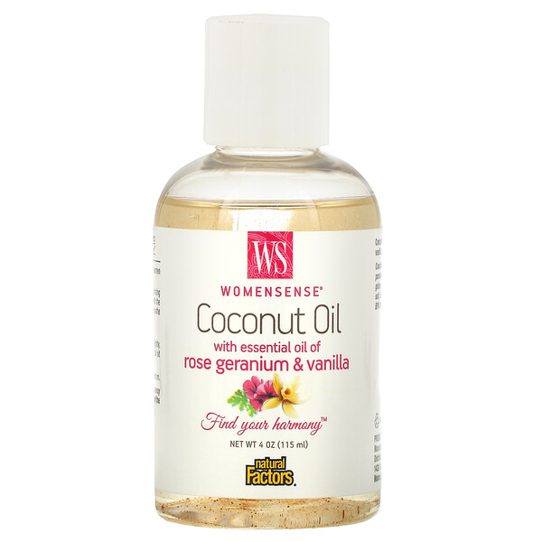 Natural Factors, WomenSense, Coconut Oil with Essential Oil of Rose Geranium & Vanilla, 4 oz (115 ml)