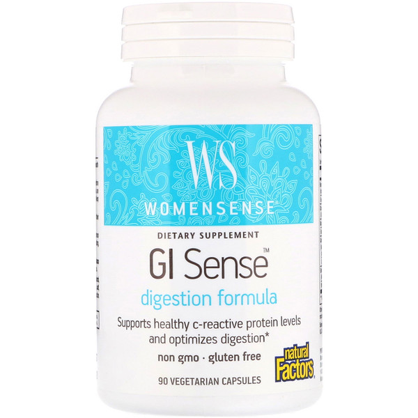 Natural Factors, WomenSense, GI Sense, Digestion Formula, 90 Vegetarian Capsules