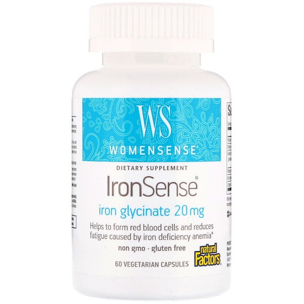 Natural Factors, WomenSense, IronSense, glicinato de hierro, 20 mg, 60 cápsulas aptas para vegetarianos