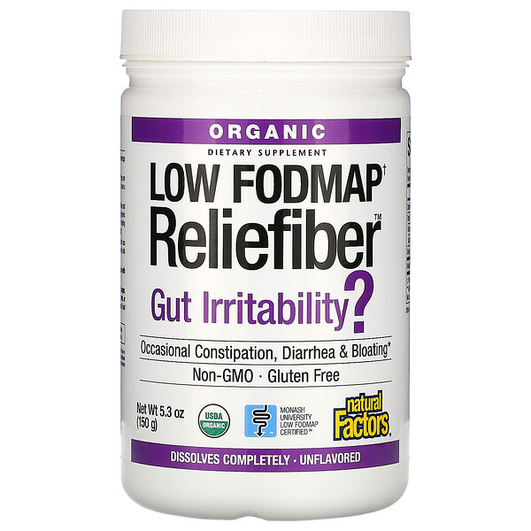 Organic Low Fodmap Reliefiber, Unflavored, 5.3 oz (150 g)