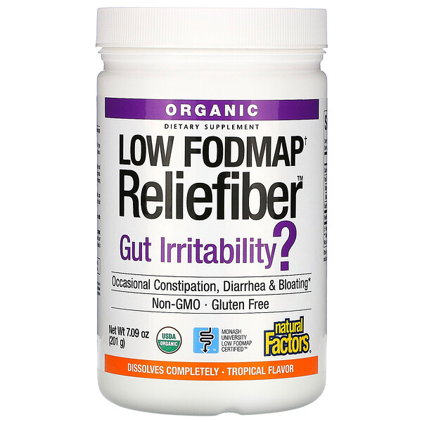 Organic Low Fodmap Reliefiber, Tropical Flavor, 7.09 oz (201 g)