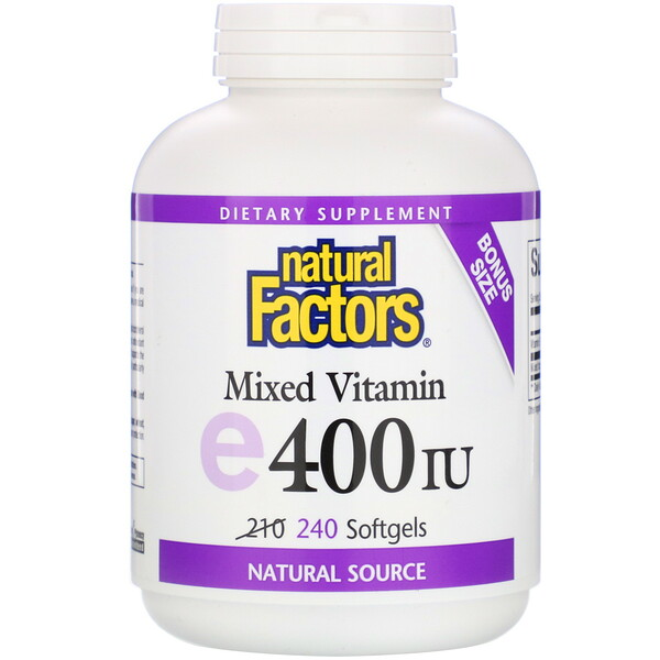 Natural Factors, E mezclado, 400 IU, 240 softgels