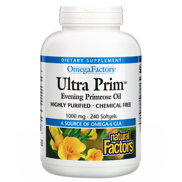 Natural Factors, OmegaFactors, Ultra Prim, Evening Primrose Oil, 1000 mg, 240 Softgels