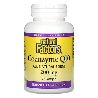 Купить Natural Factors Coenzyme Q10, 200 mg, 30 Softgels