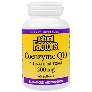 Natural Factors, Q10 Coenzimático, 200 mg, 60 cápsulas softgel