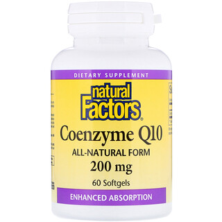 Natural Factors, مساعد الإنزيم Q10، 200 ملغم، 60 كبسولة هلامية