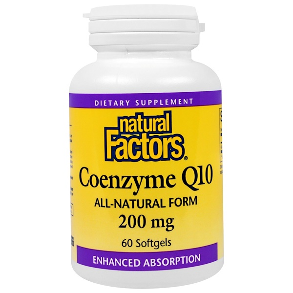 Natural Factors, Coenzyme Q10, 200 mg, 60 Softgels