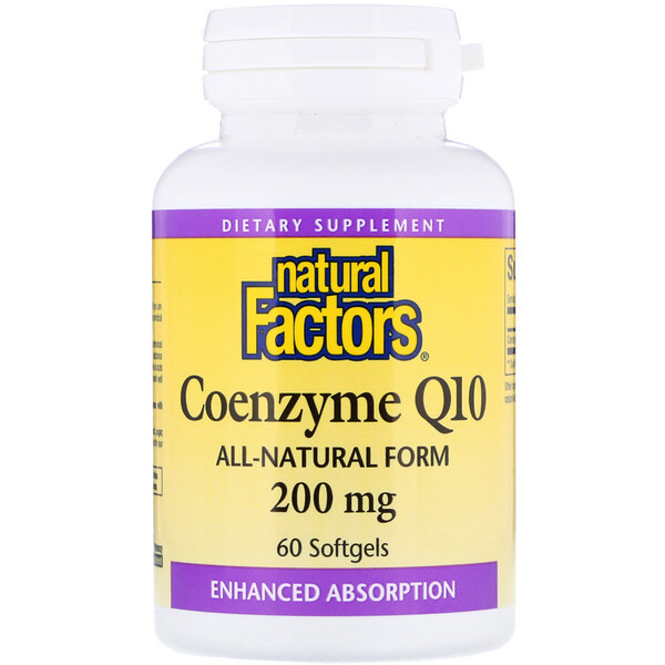 Natural Factors, Coenzima Q10, 200 mg, 60 Cápsulas Softgel