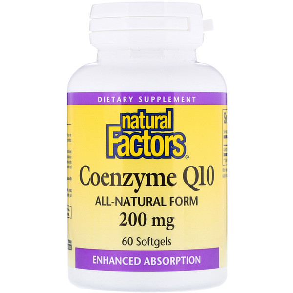 Natural Factors, Coenzyme Q10, 200 mg, 60 cápsulas blandas