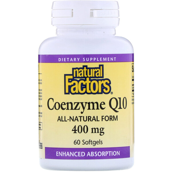 Natural Factors, Coenzima Q10, 400 mg, 60 cápsulas blandas