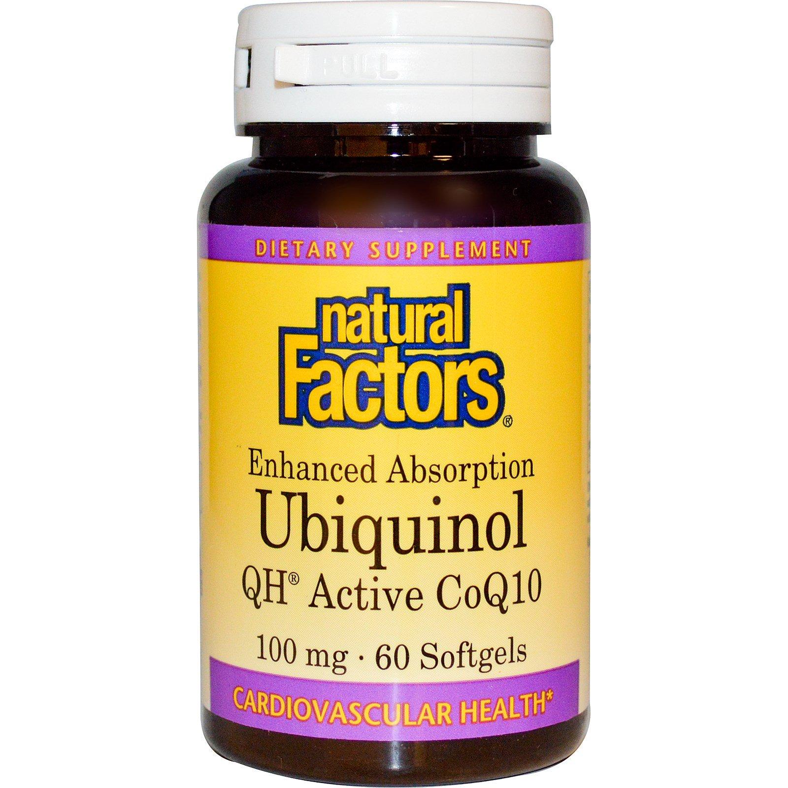 Natural Factors, Убихинол, QH-активный кофермент Q10, 100 мг, 60 мягких таблеток