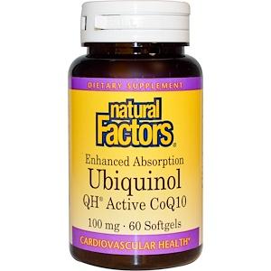 Natural Factors, Убихинол, QH-активный кофермент Q10, 100 мг, 60 мягких таблеток инструкция, применение, состав, противопоказания