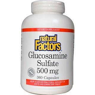 Natural Factors, グルコサミン硫酸, 500 mg, 360 カプセル