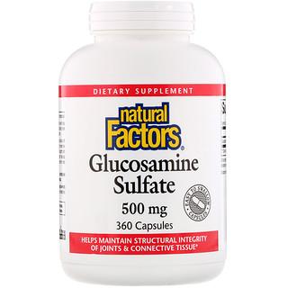 Natural Factors, Glucosamine Sulfate, 500 mg, 360 Capsules