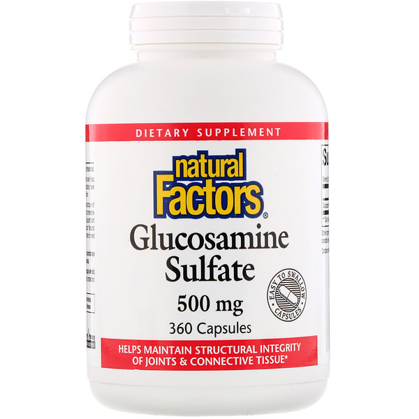 Natural Factors, Sulfate de glucosamine, 500 mg, 360 Gélules