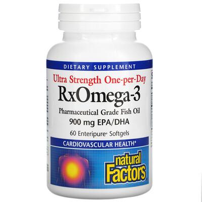 Natural Factors Ultra Strength One-per-Day RxOmega-3, 900 mg, 60 Enteripure Softgels