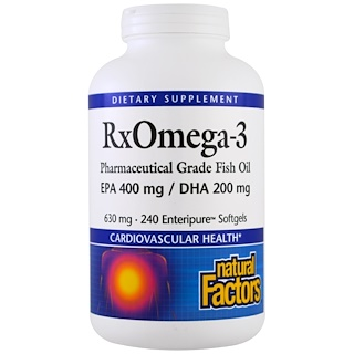 Natural Factors, Rx Omega-3 Factors、EPA 400 mg/DHA 200mg、ソフトジェル 240粒