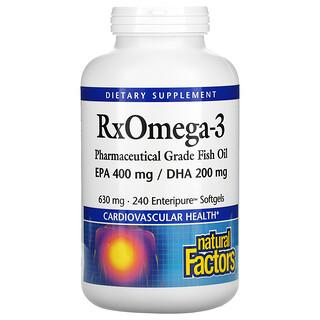 Natural Factors, Rx Omega-3 Factors، إكوسابنتانويك 400 ملجم/دوكوساهيكسانويك 200 ملجم، 240 كبسولة هلامية