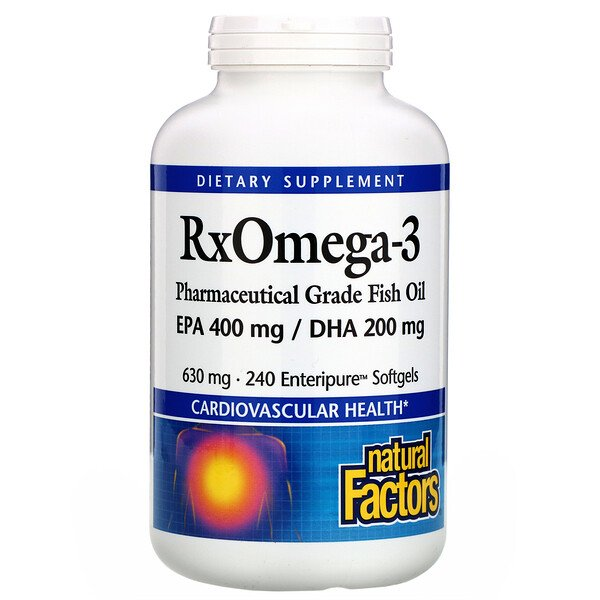 Natural Factors, Rx Omega-3, 630 mg, 240 cápsulas enteripure